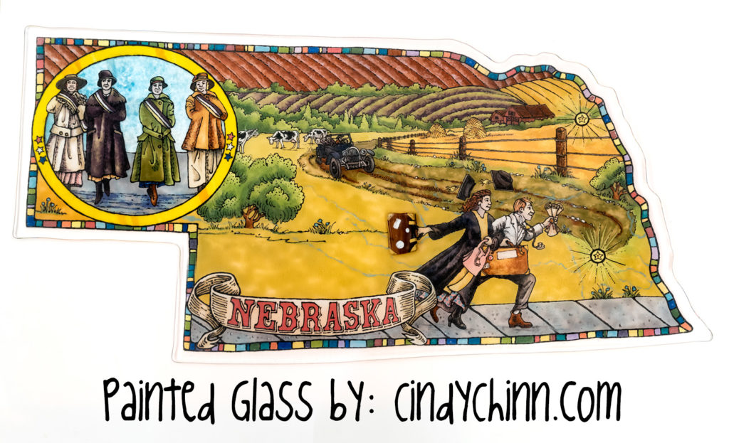 Art Glass - Painted - Nebraska