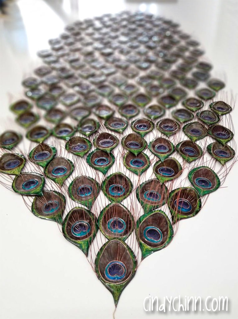 Metal Peacock Sculpture - Feather Eyes in Progress