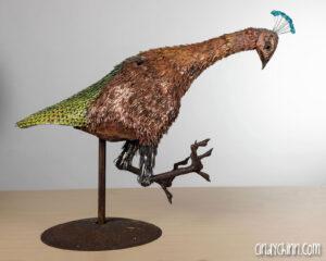 Metal Peacock Sculpture by Cindy Chinn (in progress)