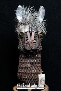 Alpaca Metal art sculpture by Cindy Chinn
