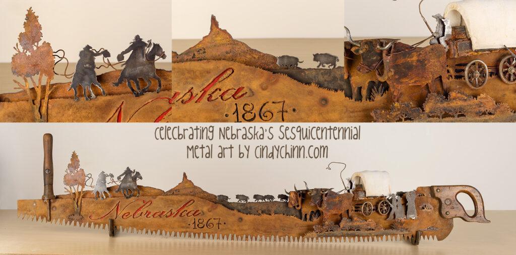 Nebraska 150 saw metal artwork by Cindy Chinn