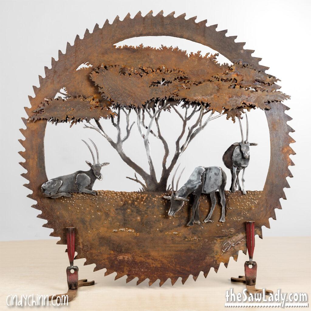 Oryx Saw Blade Metal Artwork by Cindy Chinn