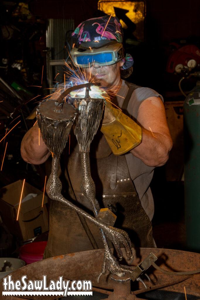 sandhill crane sculpture - metal art by Cindy Chinn